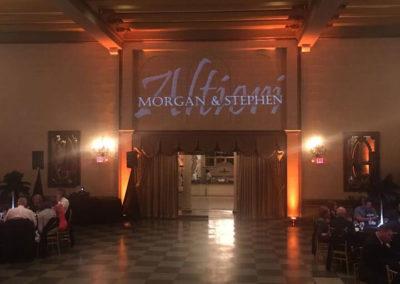 Wedding Monogram projected on wall above doorway