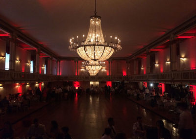 Red Uplighting sets off the Statler City Ballroom in Buffalo, NY